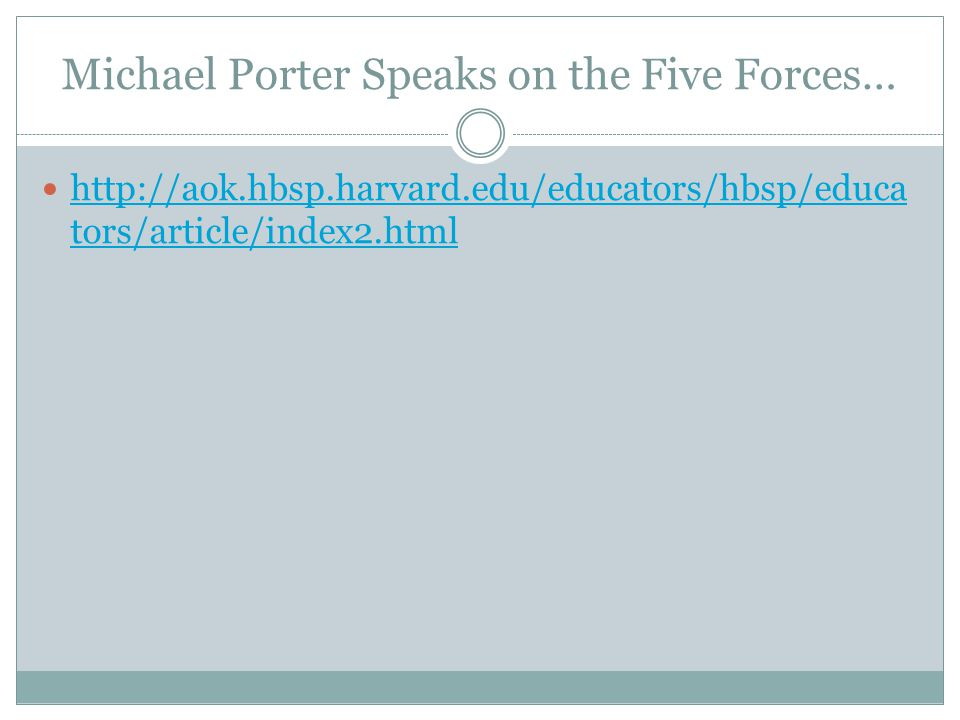 Michael Porter Speaks on the Five Forces…