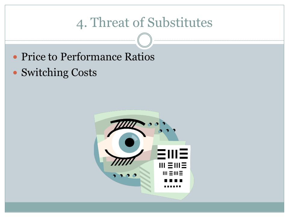 4. Threat of Substitutes Price to Performance Ratios Switching Costs