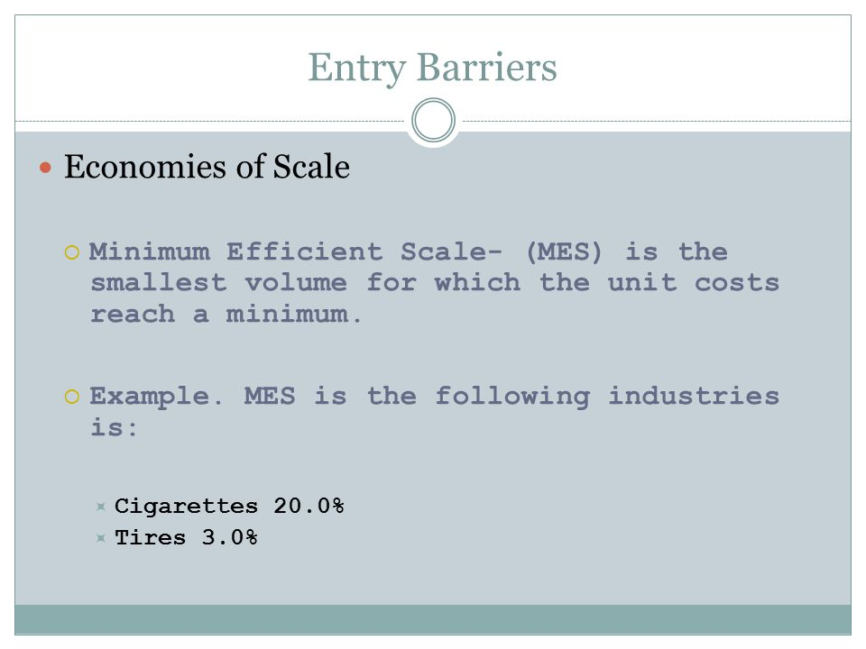 Entry Barriers Economies of Scale Capital Requirements