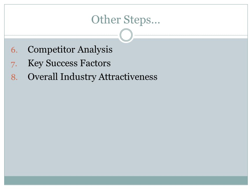 Other Steps… Competitor Analysis Key Success Factors