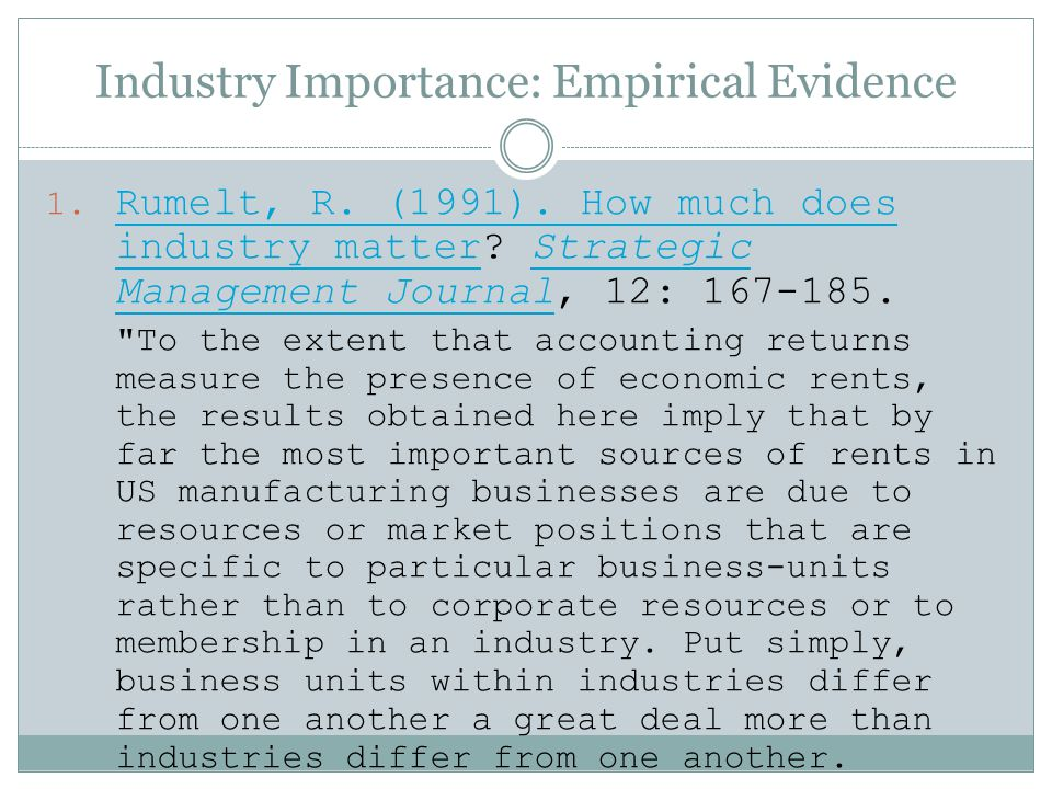 Industry Importance: Empirical Evidence
