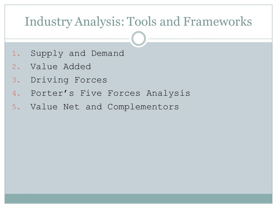Industry Analysis: Tools and Frameworks
