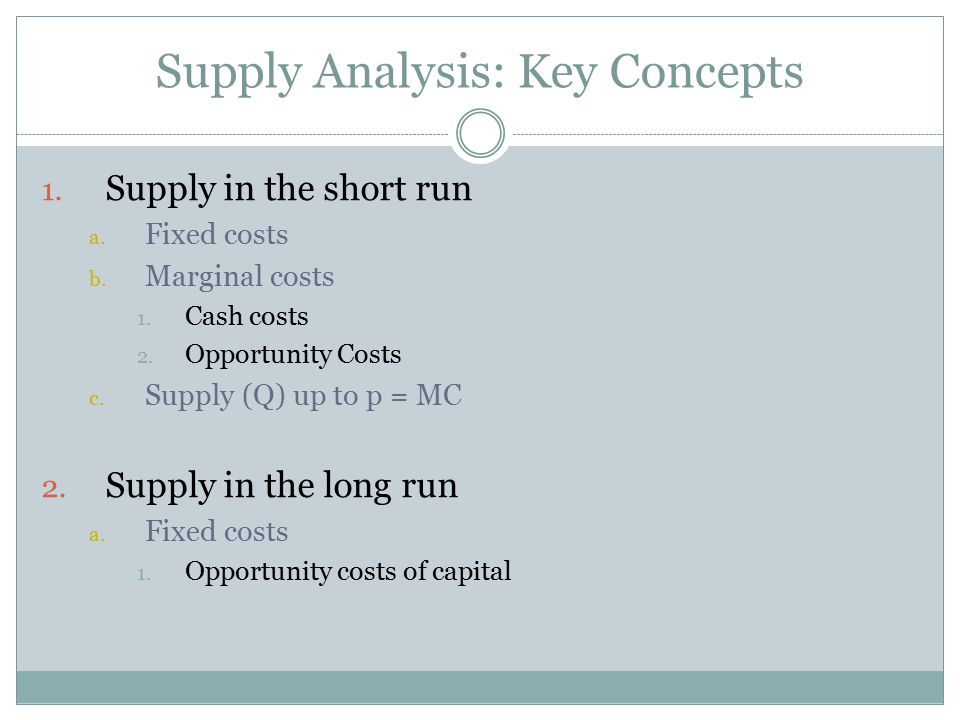 Supply Analysis: Key Concepts