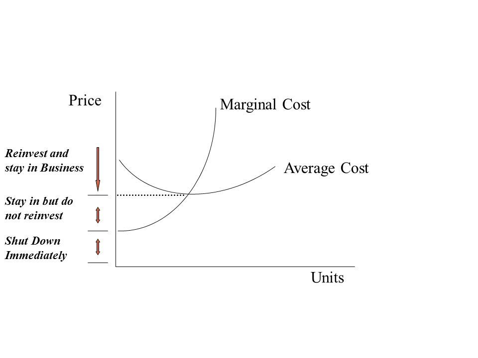 Price Marginal Cost Average Cost Units Reinvest and stay in Business
