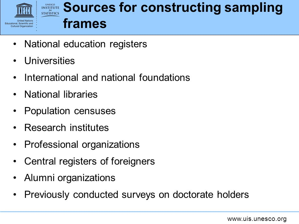 Sources for constructing sampling frames