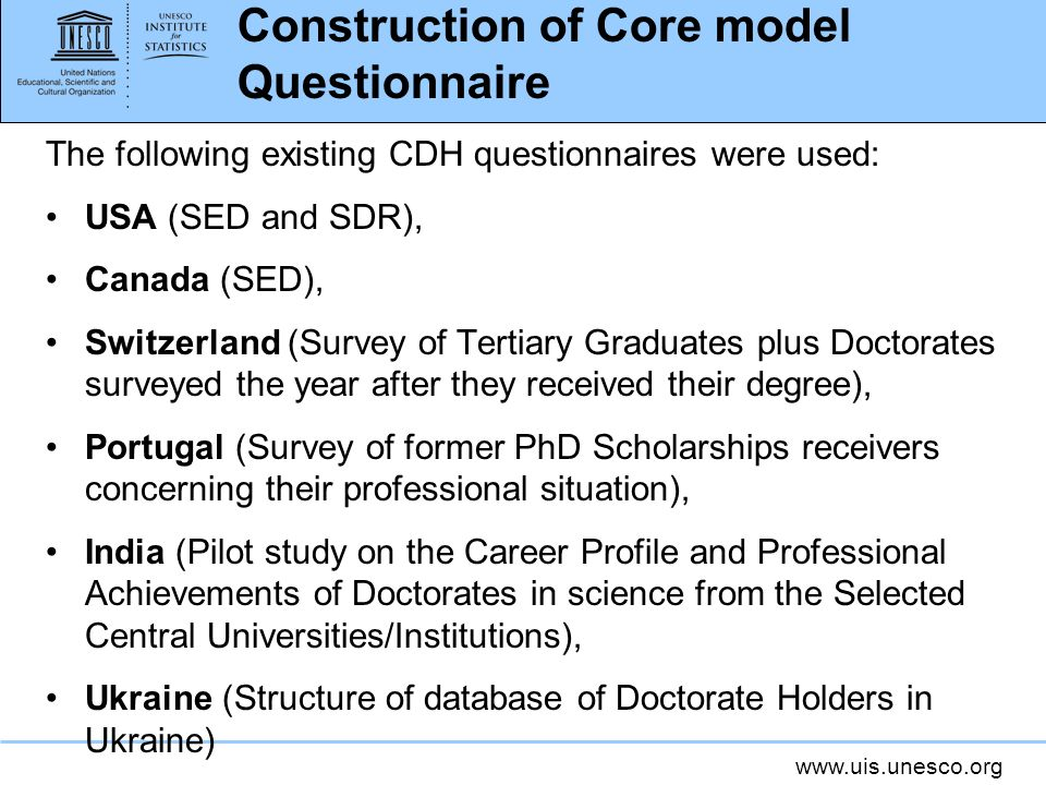 Construction of Core model Questionnaire