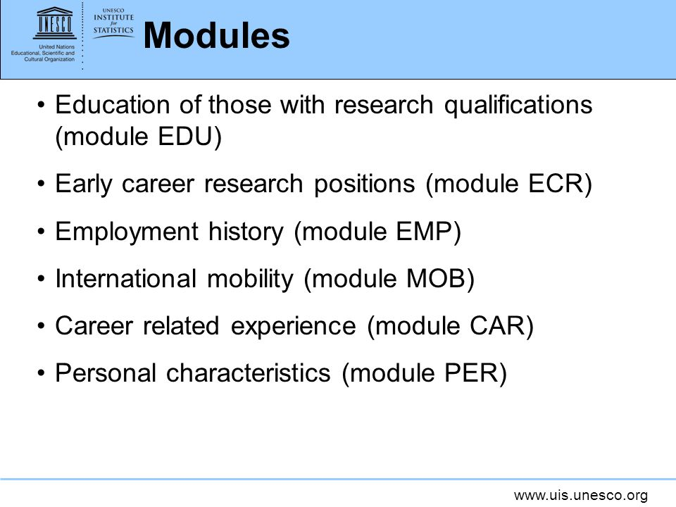 Modules Education of those with research qualifications (module EDU)