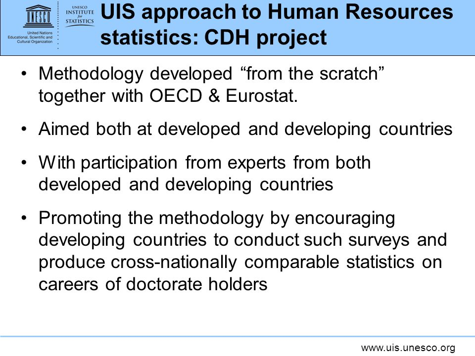 UIS approach to Human Resources statistics: CDH project