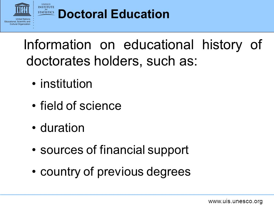Information on educational history of doctorates holders, such as: