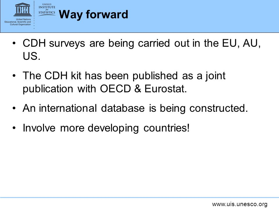 Way forward CDH surveys are being carried out in the EU, AU, US.