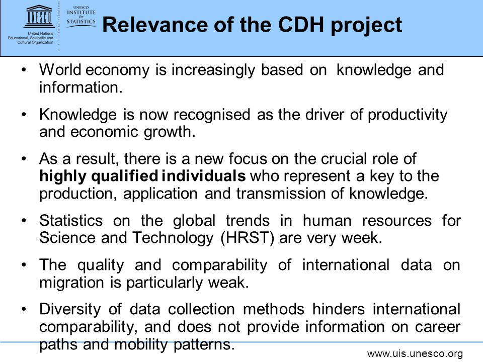 Relevance of the CDH project