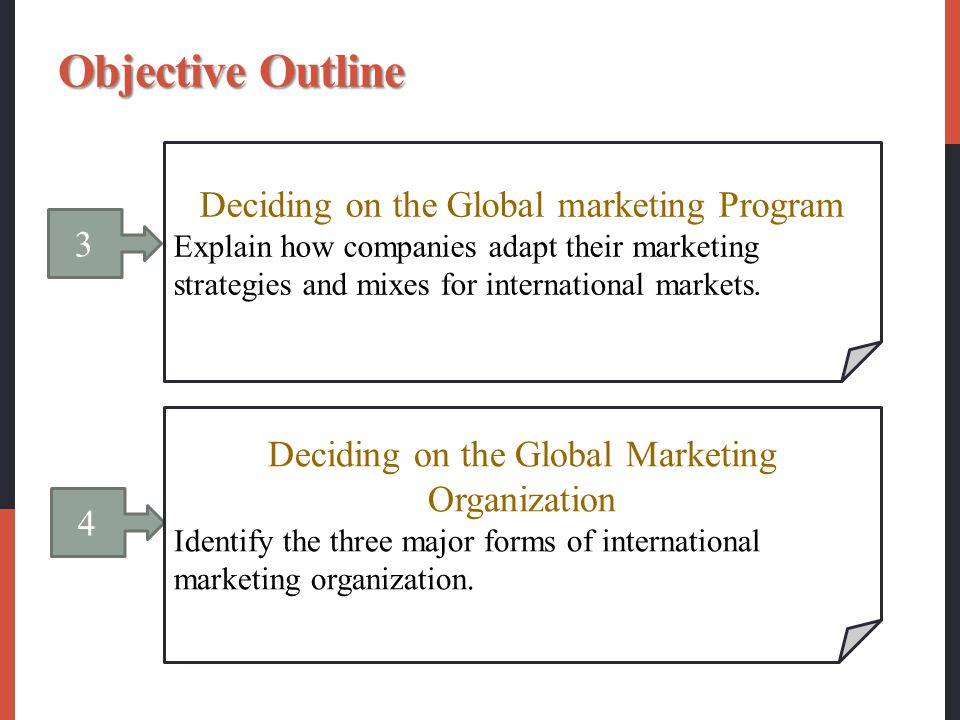 Objective Outline Deciding on the Global marketing Program 3