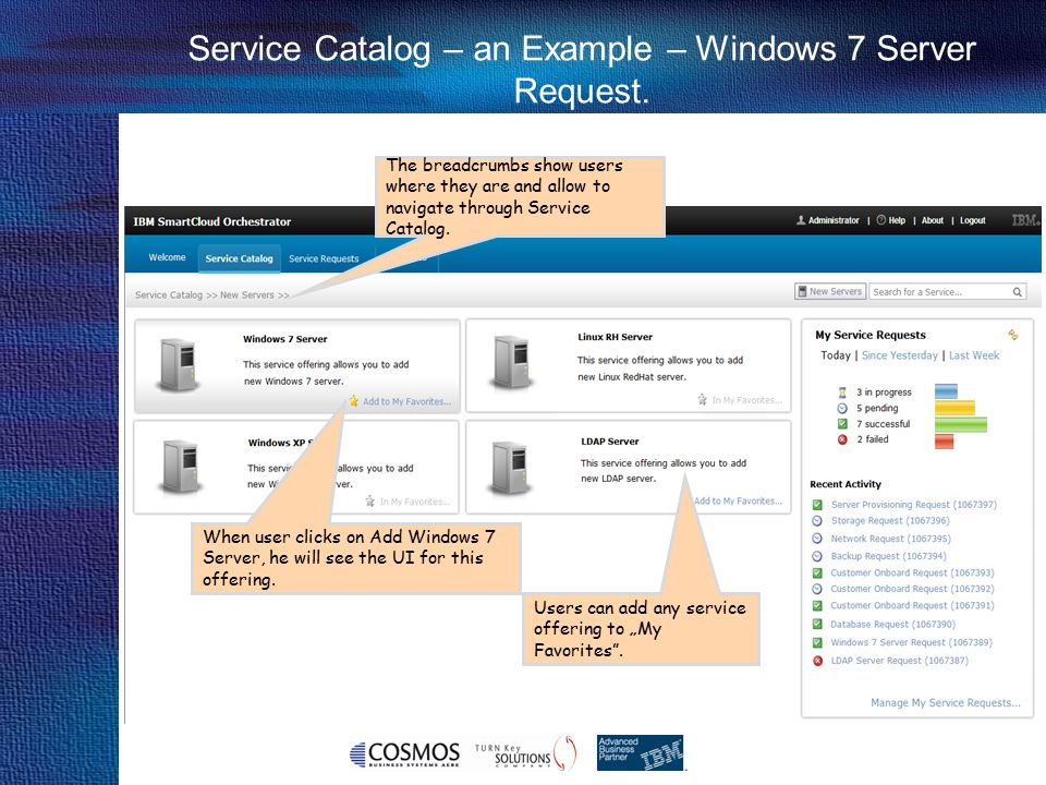 Service Catalog – an Example – Windows 7 Server Request.