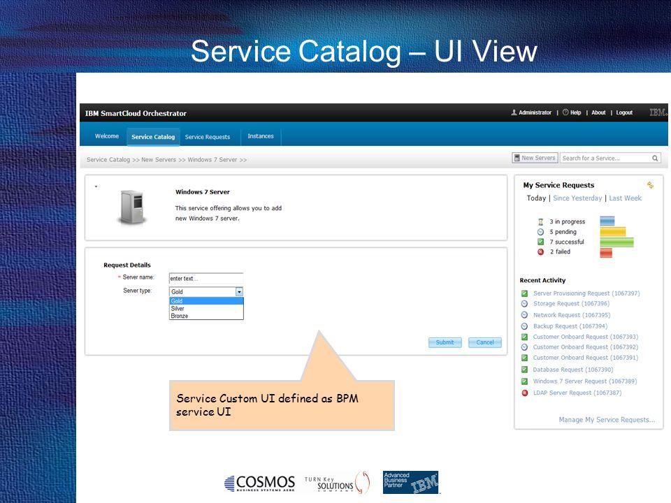 Service Catalog – UI View