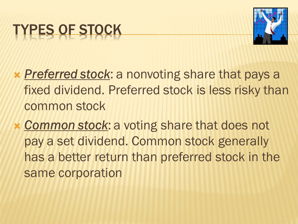 Types of stock Preferred stock: a nonvoting share that pays a fixed dividend. Preferred stock is less risky than common stock.