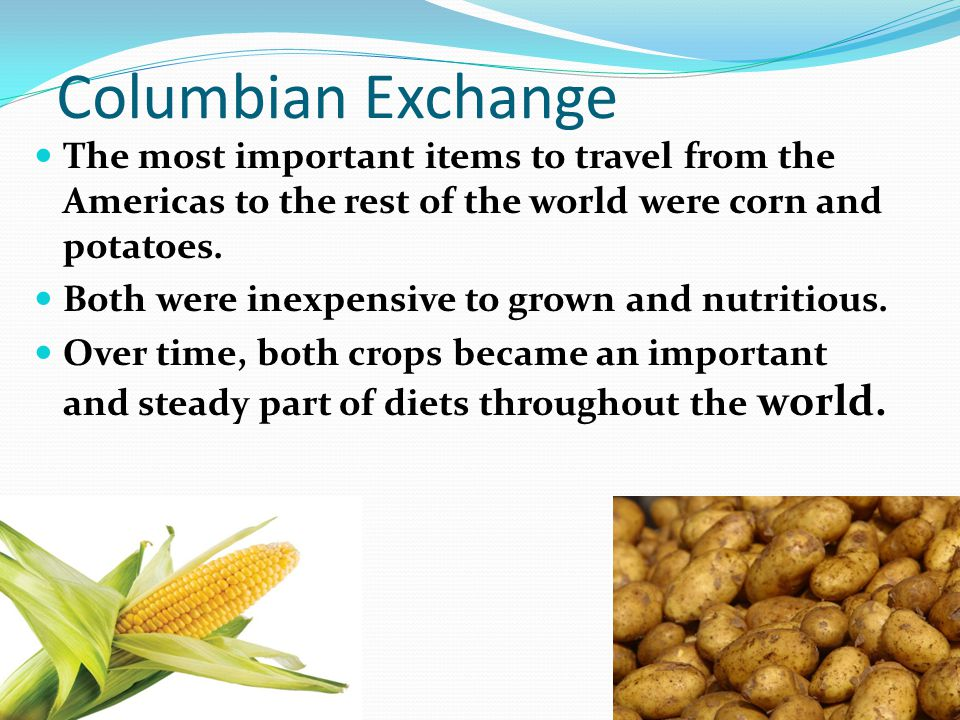 Columbian Exchange The most important items to travel from the Americas to the rest of the world were corn and potatoes.