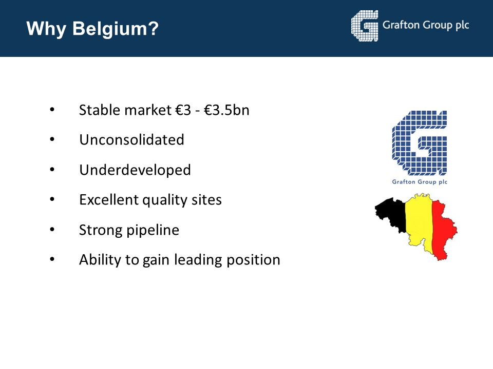 Why Belgium Stable market €3 - €3.5bn Unconsolidated Underdeveloped