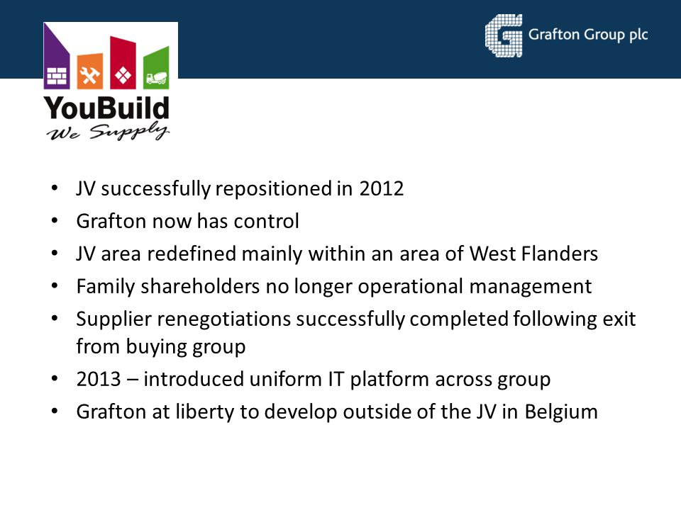 JV successfully repositioned in 2012 Grafton now has control