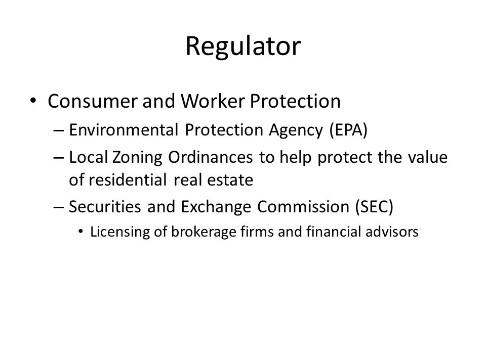 Regulator Consumer and Worker Protection
