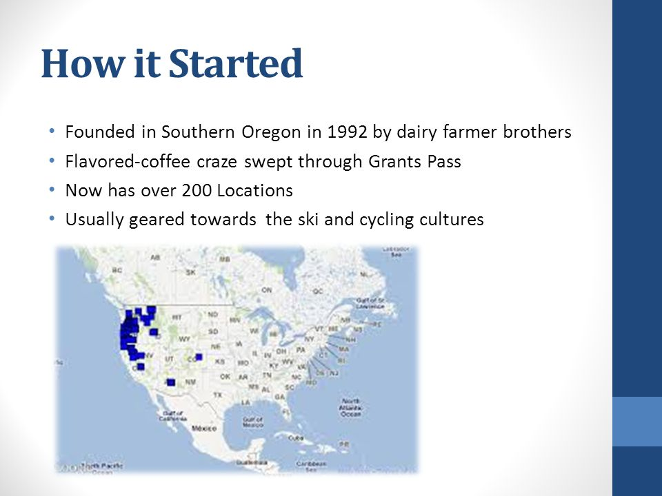 How it Started Founded in Southern Oregon in 1992 by dairy farmer brothers. Flavored-coffee craze swept through Grants Pass.