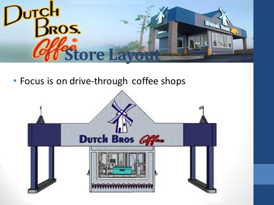 Store Layout Focus is on drive-through coffee shops Milissa