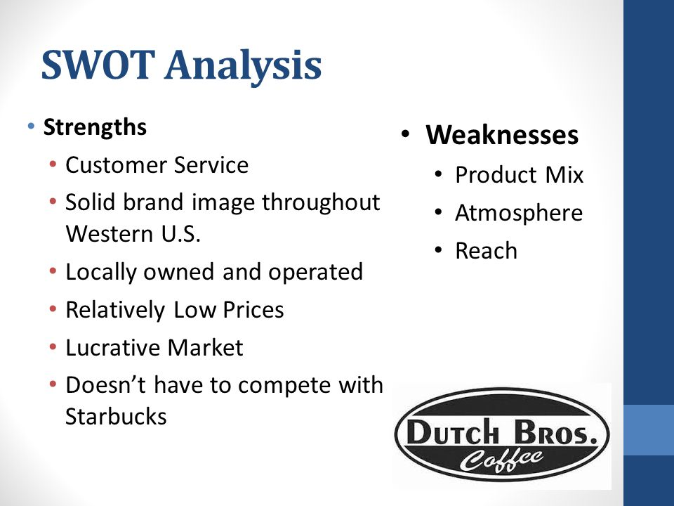 SWOT Analysis Weaknesses Strengths Customer Service Product Mix