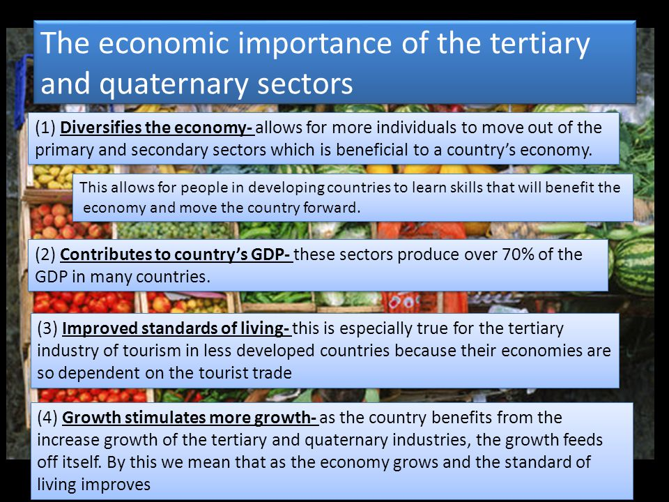 The economic importance of the tertiary and quaternary sectors