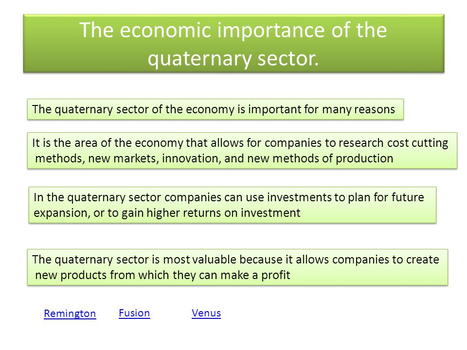 The economic importance of the quaternary sector.