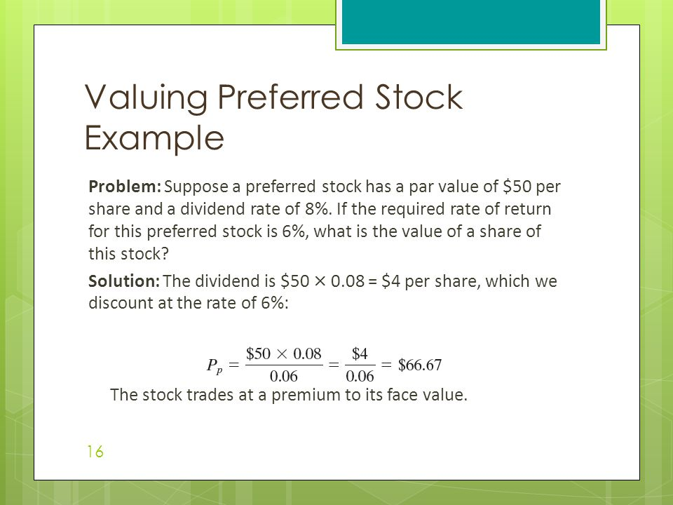 Valuing Preferred Stock Example