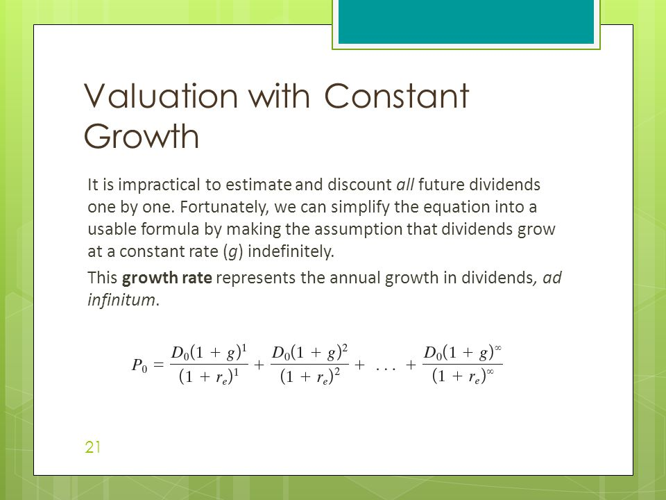 Valuation with Constant Growth