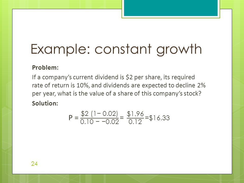 Example: constant growth