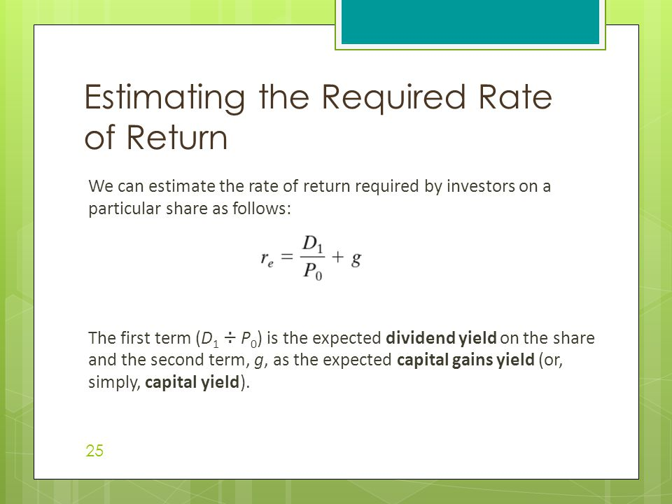 Estimating the Required Rate of Return