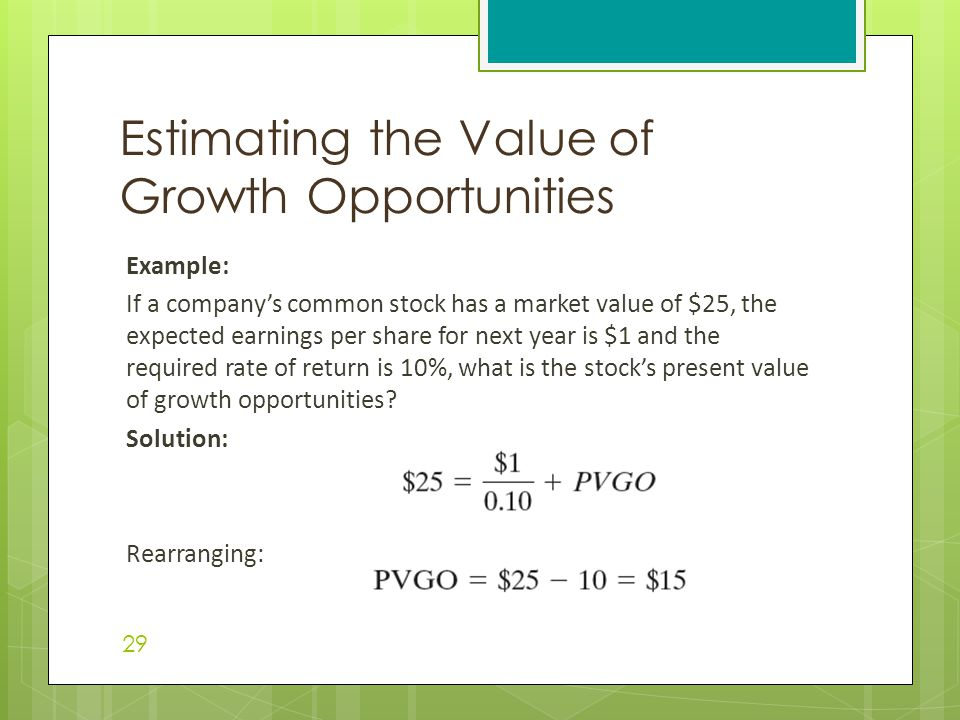 Estimating the Value of Growth Opportunities