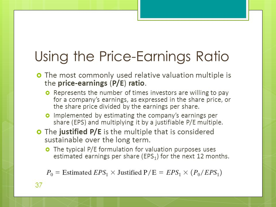 Using the Price-Earnings Ratio