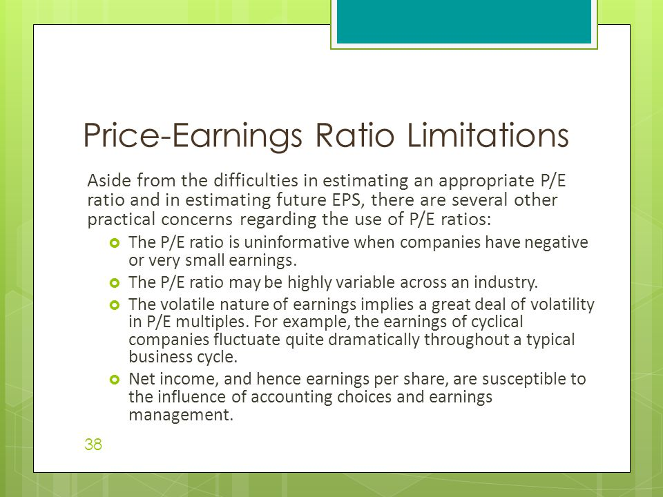 Price-Earnings Ratio Limitations