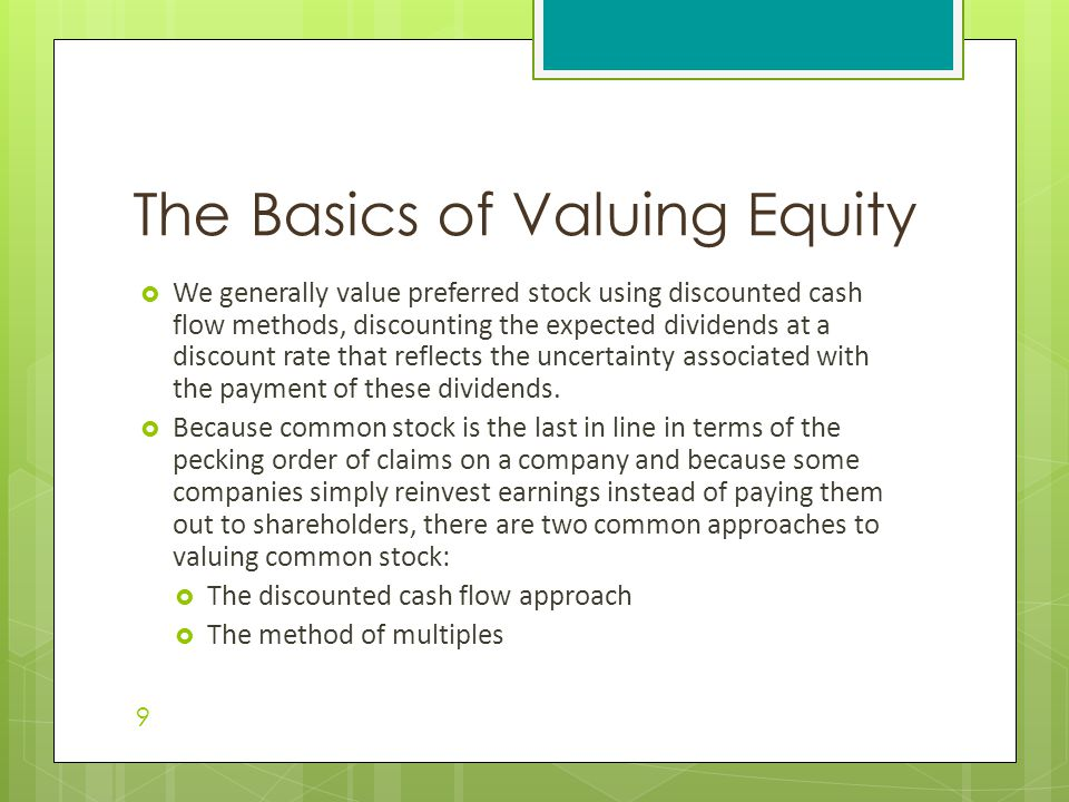 The Basics of Valuing Equity