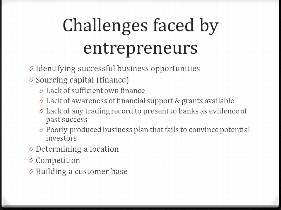 Challenges faced by entrepreneurs