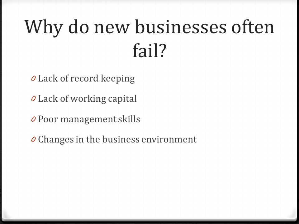Why do new businesses often fail