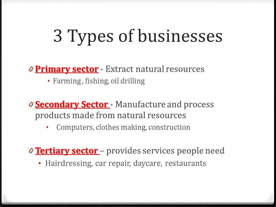 3 Types of businesses Primary sector - Extract natural resources