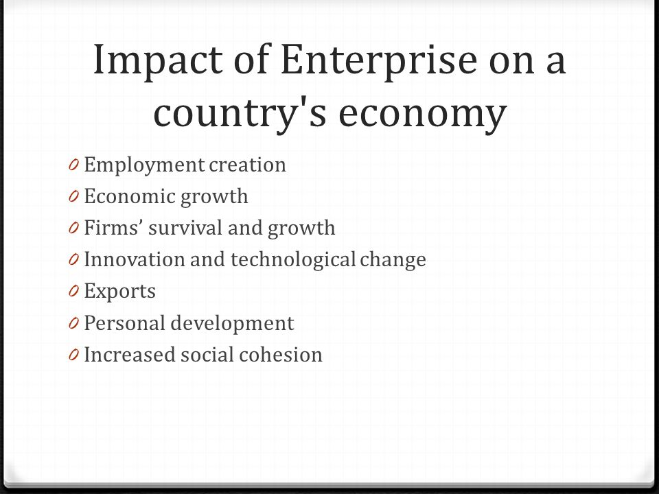Impact of Enterprise on a country s economy