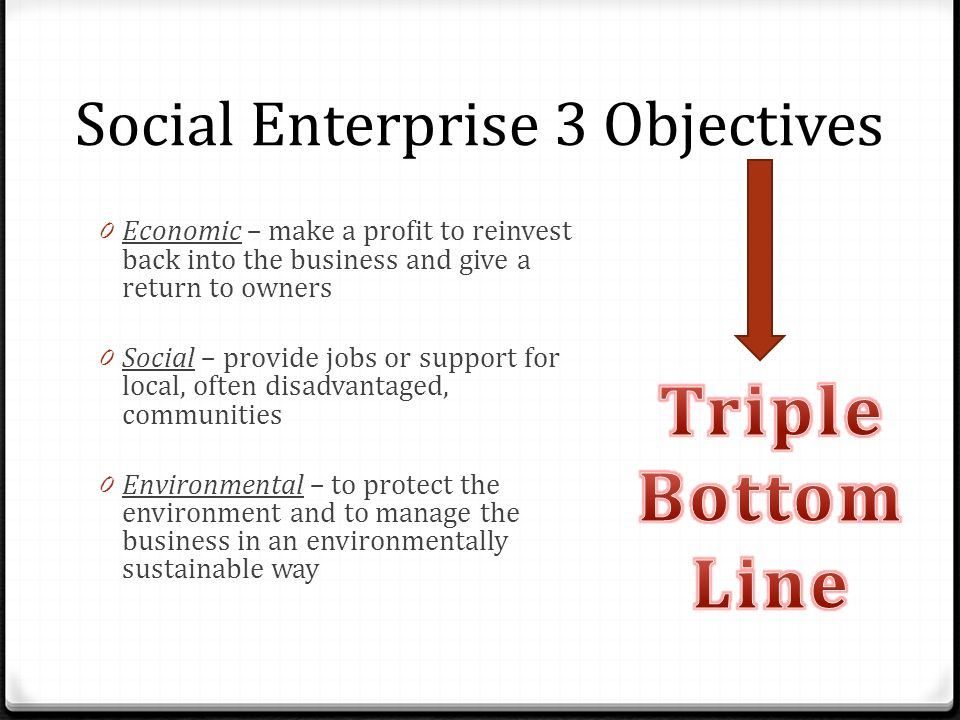 Social Enterprise 3 Objectives
