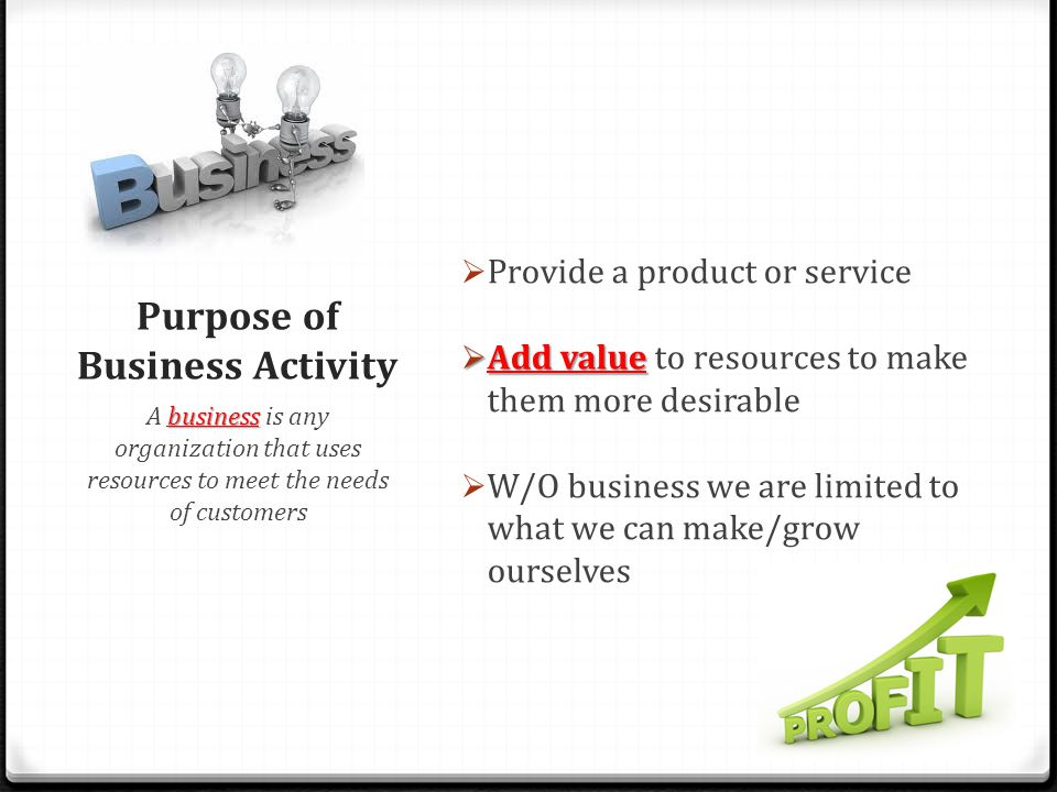 Purpose of Business Activity