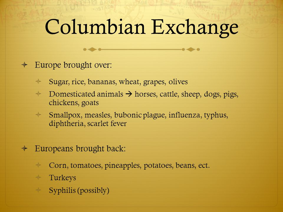 Columbian Exchange Europe brought over: Europeans brought back: