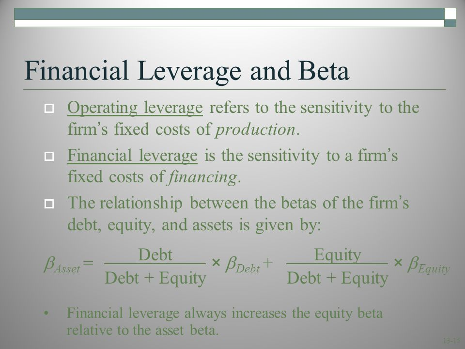 Example: positive relation between financial leverage and equity betas