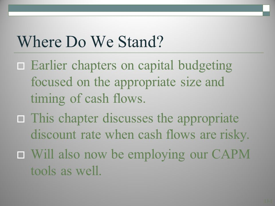 13.1 The Cost of Equity Capital
