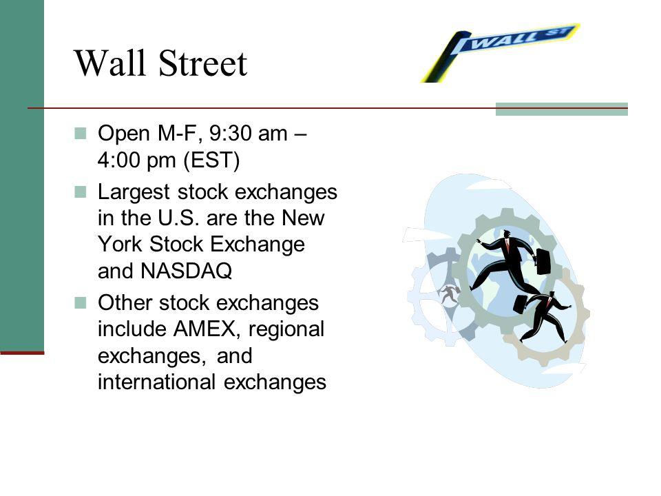 Wall Street Open M-F, 9:30 am – 4:00 pm (EST)
