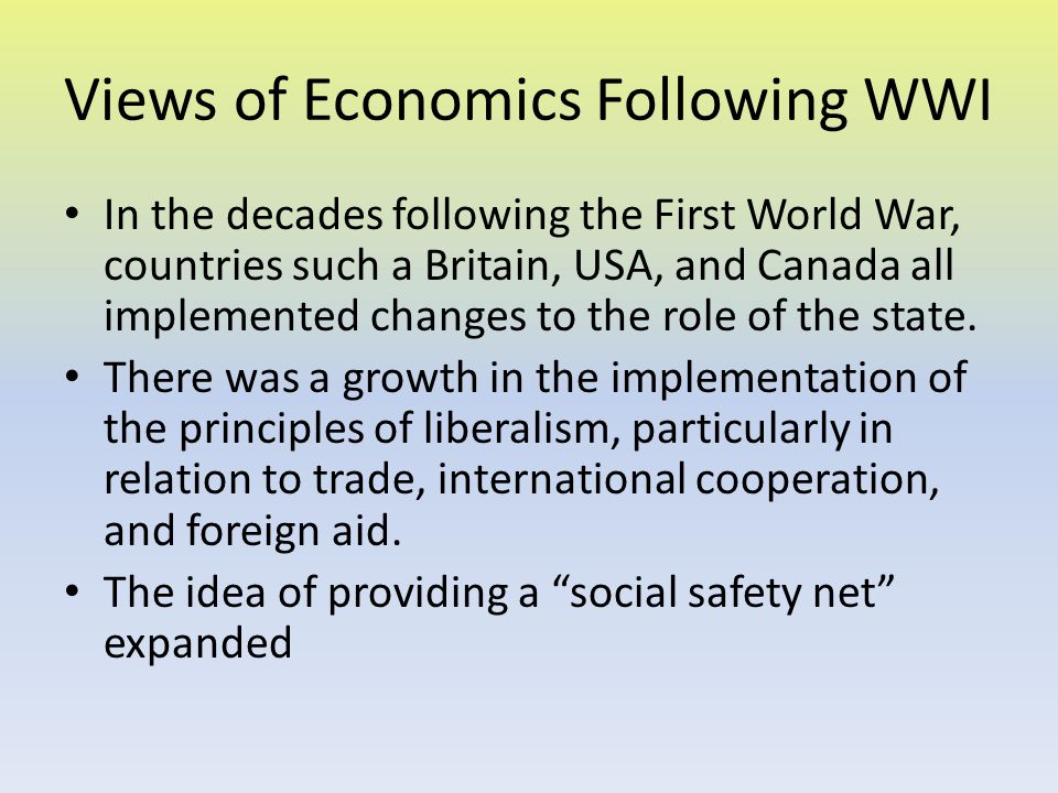 Views of Economics Following WWI