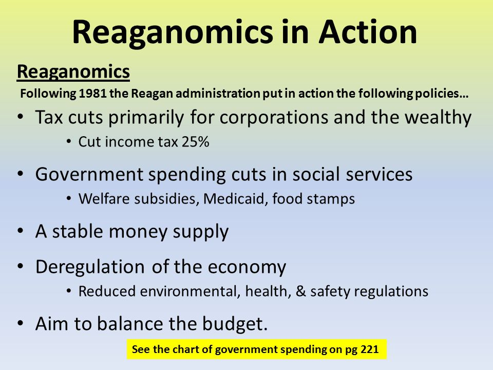 Reaganomics in Action Reaganomics