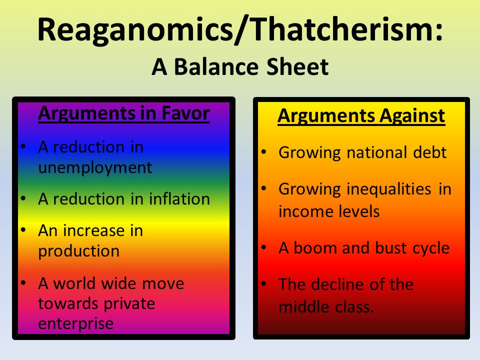 Reaganomics/Thatcherism: A Balance Sheet