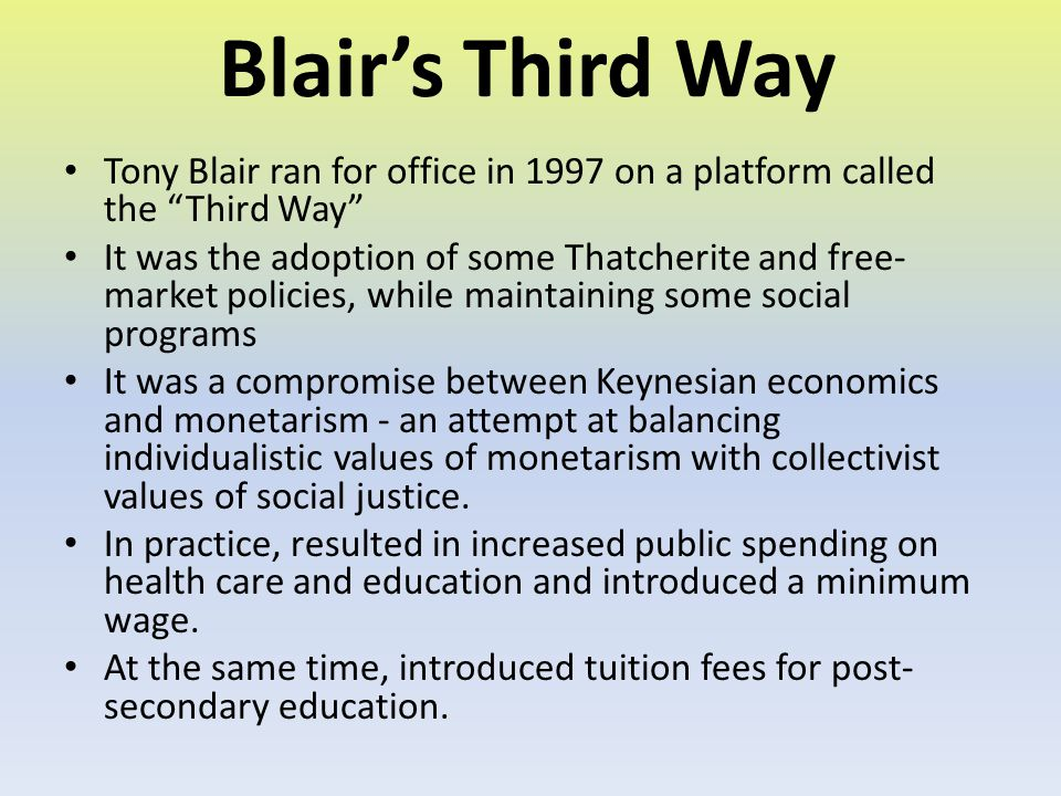 Blair's Third Way Tony Blair ran for office in 1997 on a platform called the Third Way